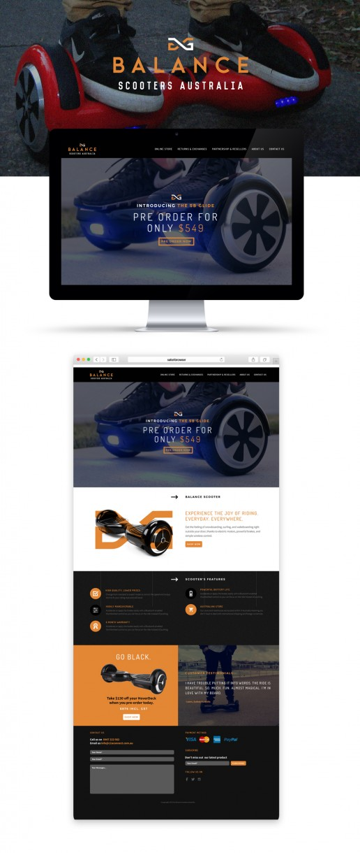Image showing previews of Balance Scooters website that Elites Wave designed and developed.