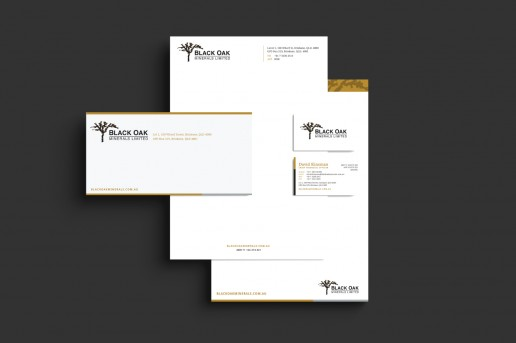Image showing a preview of Black Oak Minerals with compliments slip, letterhead and business card that Elites Wave designed.