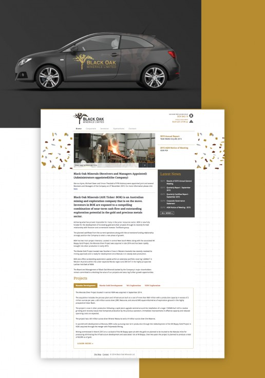 Image showing a preview of Black Oak Minerals website and Vehicle Signage that Elites Wave did.